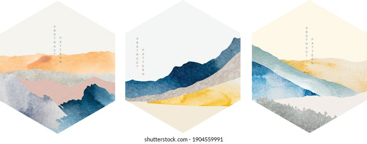 Abstract art icon with geometric pattern vector. Mountain landscape background with watercolor texture background. Natural template with Japanese wave elements.