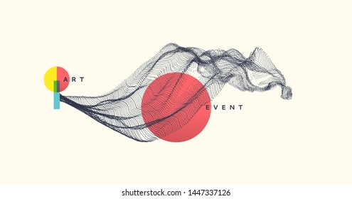 Abstract art in Japanese style. Array with dynamic emitted particles. Water splash imitation. Modern science background. Vector illustration.