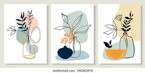 Abstract art line backgrounds, posters wall art set with flowers and plants in pots. Contemporary modern design, doodle shapes.