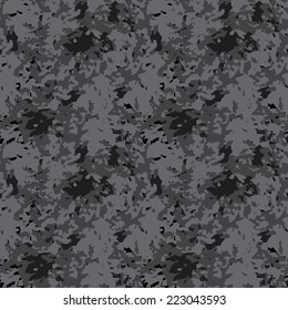 Abstract art modern distressed seamless pattern. Paint stains. Camouflage print monochrome background texture. Fabric design. Wallpaper