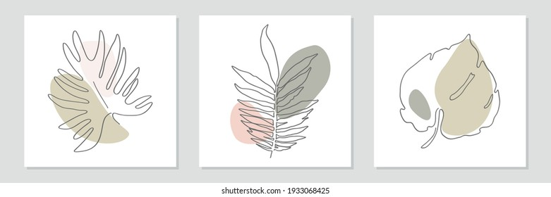 Abstract art nature background vector. Summer banner. Foliage line art drawing with abstract modern shape. For prints, social media post and story background, poster, wall art,cover, wallpaper.