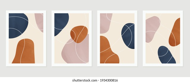 Abstract art nature background vector. Modern shape line art wallpaper. Boho foliage botanical leaves watercolor texture design for home deco, wall art, social media post and story background.