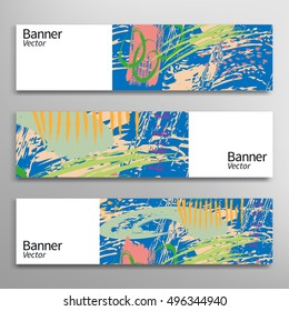 Abstract art painting banners collection. Artistic header background with place for your text. Set of vector painted banners, digital artwork. Brushstrokes of paint. Modern art. Contemporary art.