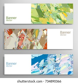 Abstract art painting banners collection. Artistic header background with place for your text. Set of vector banners, digital freehand artwork. Brushstrokes of paint. Modern art. Contemporary art.