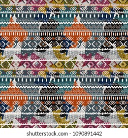 Abstract art seamless pattern. Paint spots. Ethnic print. Grunge background texture. Fabric design