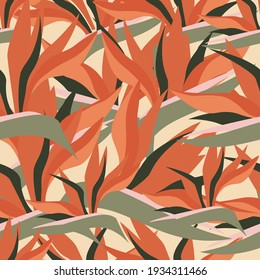 Abstract art seamless pattern. Tropical exotic ornament of strelitzia flowers. Bright summer orange floral motif. Vector graphics