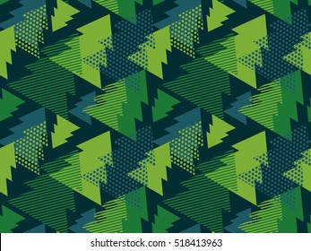 abstract art vector background. Christmas tree seamless pattern in modern geometry style. illustration for wrapping paper of fabric