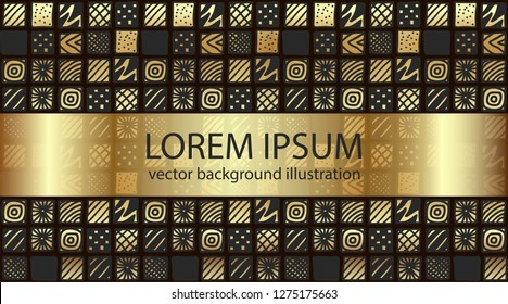 Abstract art vector geometric illustration. Text lorem ipsum. Hand drawn gradient gold color patterned squares. Design template for greeting card, typographic print, sale flyer, festive banner.