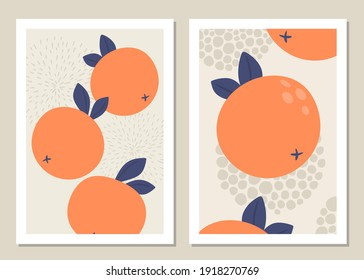 Abstract art wall with fruits. Abstract oranges and shapes for collages, posters, covers, perfect for wall decoration. Vector.