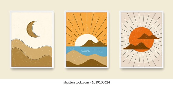 Abstract art wall posters. Grungy landscape boho backgrounds. Set of sunrise, sunset and moon night posters. Boho wall decor. Grunge texture on mountain background. Collage art. Abstract vector set