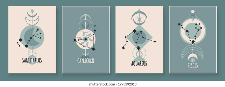 Abstract art with zodiac celestial sign and constellation. Sagittarius Archer, Capricornus Goat, Aquarius Water Bearer, Pisces Fish. Wall art in vintage style. Minimalistic vector background design.