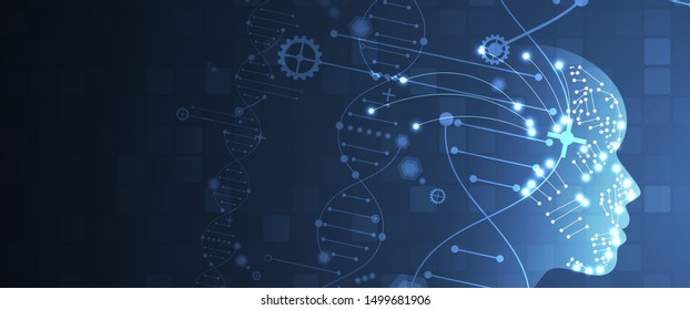 Abstract artificial intelligence DNA technology. Science and social concept.  Futuristic connection structure with cell background