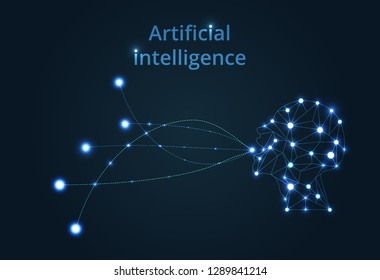 Abstract Artificial intelligence. Lines connected to thinkers, symbolizing the meaning of artificial intelligence. Technology web background. Virtual concept