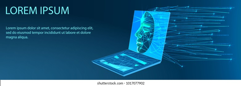 Abstract Artificial intelligence. Technology web background. Virtual concept. Banner. Low poly vector illustration of a starry sky or Cosmos.