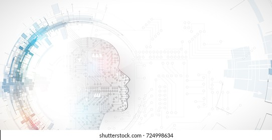 Abstract Artificial intelligence. Technology web background. Virtual concept