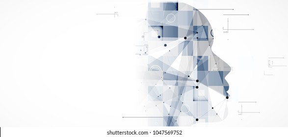 Abstract Artificial intelligence with woman face. Technology web background. Virtual concept