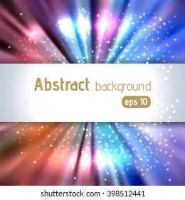 Abstract artistic background with place for text. Color rays of light. Original sparkle design. Blue, orange, pink colors.