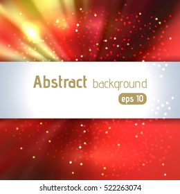 Abstract artistic background with place for text. Red, yellow, orange colors.  Color rays of light. Original sparkle design