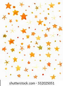 An abstract artistic background texture with bright yellow and orange watercolor stars. Scalable vector graphic
