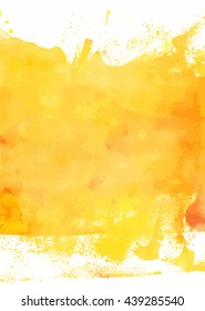 An abstract artistic bright yellow watercolor background texture; scalable vector graphic