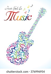 abstract artistic colorful musical guitar vector illustration