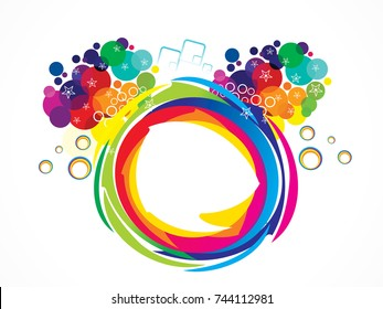 abstract artistic creative rainbow circle explode vector illustration