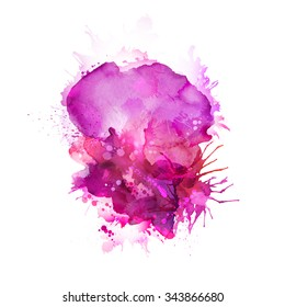 Abstract artistic element forming by watercolor blots