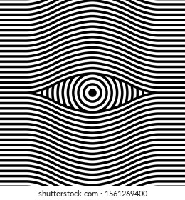 Abstract artistic eye with wavy line pattern background vector illustration