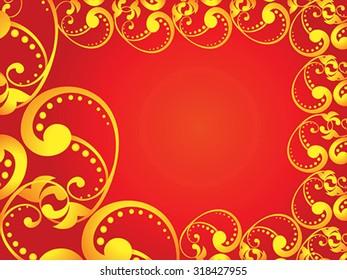 abstract artistic golden border vector illustration