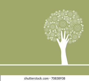 abstract artistic hand tree, symbol of nature protection
