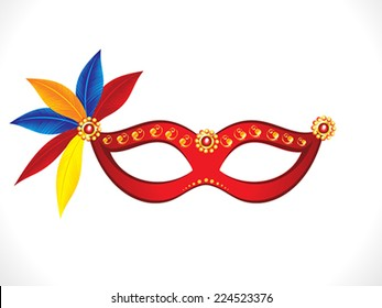 abstract artistic red mask with colorful feathers vector illustration