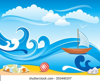 abstract artistic wave background vector illustration