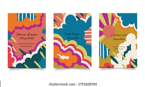 Abstract arts 70s cover design vector. Modern Art 1970s graphics design for poster, social ads, business cards, invitations,  flyers and brochures.
