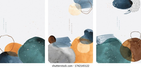 Abstract arts background with painting brush texture vector. Watercolor stain elements with Japanese wave pattern. Poster and card design in Asian style.