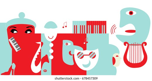 Abstract artwork for classical music concert or theater. Could be use as music background or as design element for theater posters, festival tickets, flyers or philharmonic hall promotions.