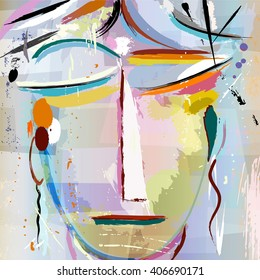 abstract artwork, face of a woman with closed eyes