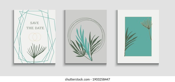 Abstract Asian Vector Banners Set. Oriental Style Invitation. Simple Olive Leaves Magazine Design. Hand Drawn Trendy Background. Tie-Dye, Tropical Leaves Covers. Geometric Frame Texture.