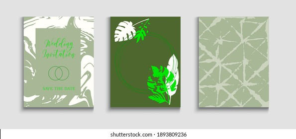 Abstract Asian Vector Covers Set. Hand Drawn Trendy Background. Tie-Dye, Tropical Leaves Flyers. Noble Banana Leaves Magazine Design. Geometric Border Pattern. Japanese Style Invitation.