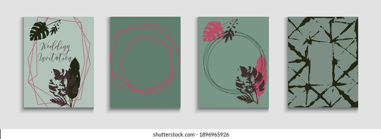 Abstract Asian Vector Flyers Set. Geometric Frame Pattern. Japanese