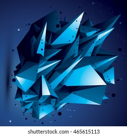 Abstract asymmetric vector bright object with lines mesh, complicated geometric shape.