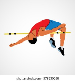 Abstract athlete jumps in height on a white background. Vector illustration.
