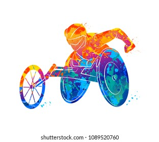 Abstract athlete on wheelchair racing from splash of watercolors. Vector illustration of paints.