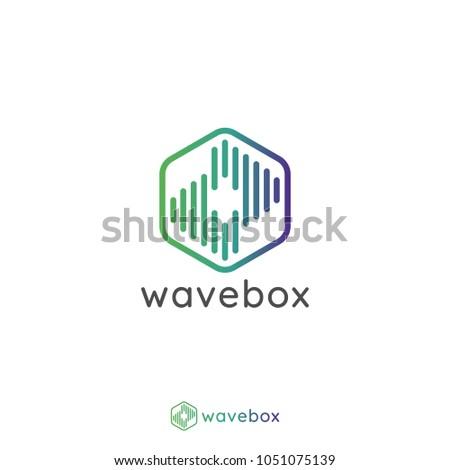 Abstract Audio Signal Wave Pulse Logo Stock Vector (Royalty