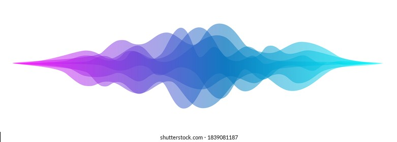 Abstract audio sound wave background. Blue and purple voice or music signal waveform vector illustration. Digital beats of volume color soundwave. Graphic electronic curve shape.