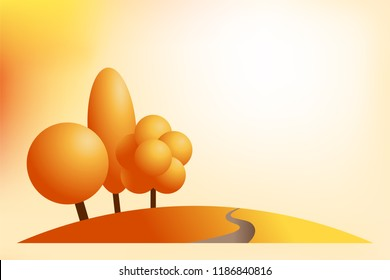Abstract autumn background with cartoon autumnal park landscape. Fall layout in yellow, orange and red colors. Vector illustration