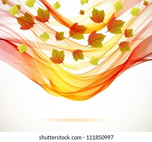 Abstract autumn background with wave,vector illustration for your design