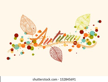 Abstract autumn composition. Leaf with colorful transparent bubbles background illustration. EPS10 vector file organized in layers for easy editing.