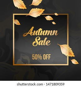 Abstract autumn golden sale offer banner design with frame, beauty background and autumn leaves