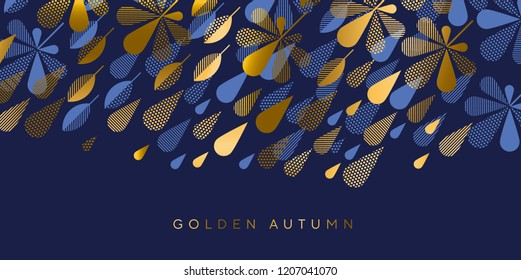 Abstract autumn rain drop and leaves decorative seamless pattern. Simple fall foliage and weather motif  for fabric, wrapping paper, surface design projects.
