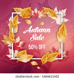 Abstract autumn sale offer banner design with frame, beauty background and autumn leaves